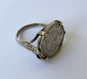 Vintage 1941 3p Threepence Three Pence Silver Mounted Coin Ring
