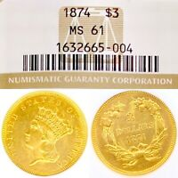 1874 • $3 GOLD THREE DOLLAR PRINCESS • MS61 NGC • RARE LUSTROUS • KEY DATE COIN!