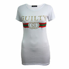 Women's Celebrity Guilty  Designer Casual Top Ladies Slogan Striped T- Shirt