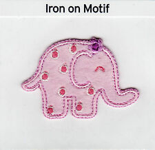 BABY PINK ELEPHANT THERMOCOLLANTS APPLIQUE MOTIF PATCH, NEUF