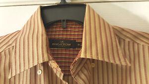 Bugatchi Uomo Men l/slv shirt M flip cuff Brown/Tan stripe btn front Rayon blend