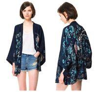 Retro Women Lady Ethnic Floral Phoenix Loose Style Kimono Cardigan Jacket Coat T