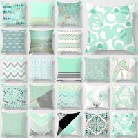 Geometric Mint Green Pillow Case Sofa Throw Cushion Cover Pillowcase Home Decor