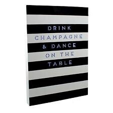 By Appointment Light Up Plaque Black & White Stripe Drink Champagne Message
