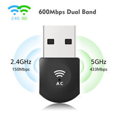 600Mbps USB2.0 WiFi Adapter 802.11ac Dual Band WiFi Dongle LAN Network ForLaptop