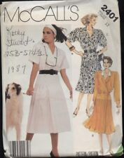 McCall's 2401 Sewing Pattern Front-Wrap Career Dress Pleated Skirt Sz 12 VTG '87
