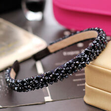 RF black hair accessories four rows crystal rhinestone hair hoop headband2