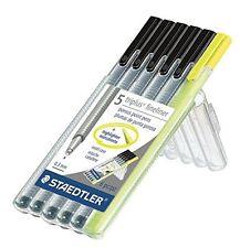 Staedtler Triplus fineliners 0.3mm 6/pk (5 BLACK Fineliners + 1 highlighter)