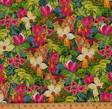 Cotton Lizard Lounge Tropical Floral Cotton Fabric Print by the Yard D480.12