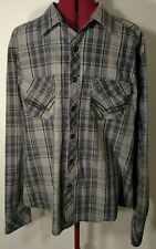 Rock & Roll Cowboy Mens gray plaid Long Sleeve Snap Button Western Shirt XL