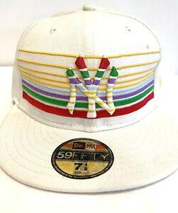 NEW YORK WHITE FLAT PEAK BASEBALL CAP, NEW ERA FITTED HAT, HIP HOP RETRO FUNK