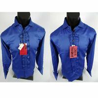 Mens MANZINI Tuxedo Dress Wedding Style Shirt Blue SATIN w/ RUFFLES French Cuff