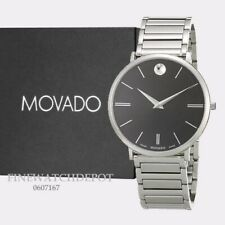Authentic Movado Men's Stainless Steel Ultra Thin Black Dial Watch 0607167