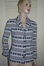 ST JOHN COLLECTION Patterned Knit Blazer ~ Bright Navy, White, & Red ~Size 0