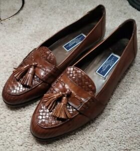 COLE HAAN BRAGANO-Brown Woven Leather, Mens Tassel Summer Dress Loafers-(11.5 M)