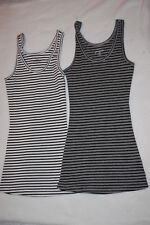 Womens 2 LOT TANK TOP Ribbed OFF WHITE & GRAY Black Stripes SIZE M Rue 21