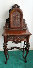 Antique  WalnutTelephone Cabinet/Drawer:Carved Cupids of Legs; c.1920s-30s; VGC