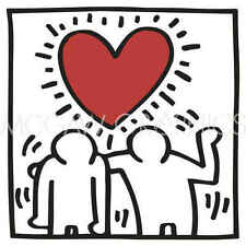 Keith Haring KH03 Abstract Contemporary Figure Heart Love Print Poster 20x22