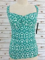 LA BLANCA Tankini Swim Top Lined Ruched Twist Front Green Size 8 NWT  MSRP $89