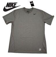 New Nike Dri Fit Solid Short Sleeve Active Shirt Grey Gray Black Logo 2XL XXL