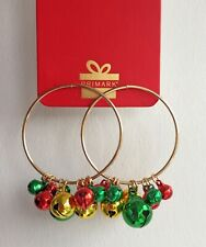 Christmas Hoop Stud Earring, Circle Gold Earring with Colourful Jingle Bells