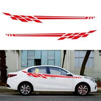 2x Rot Auto Aufkleber Rennstreifen Seitenaufkleber Streifen Zierstreifen Dekor