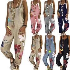 Women Floral Dungarees Playsuit Casual Wide Leg Pants Baggy Overalls Jumpsuit