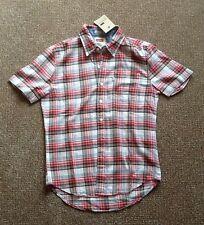 BNWT Mens Levi's red & white plaid cotton shirt. Slim fit. Size S Small.