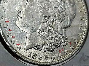 1886 P Morgan Silver Dollar VAM Obverse Reverse Die Break Error   104P