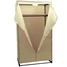 Double Wardrobe Cream Canvas Rail Bedroom Storage Clothes Cupboard Organiser