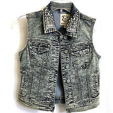 NWOT Denim Jean Vest  Size M  Blue Gray Faux Pearl Front Pockets by WAX JEANS