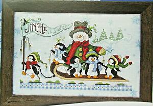 Jingle Bell Parade - Magazine cross stitch pattern - Snowman Penguin Snow Sled