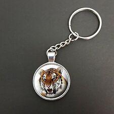 Tiger Pendant On A Split Ring Keyring Ideal Birthday Gift N33