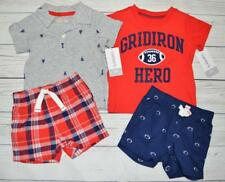 NEW Infant Boy 3m LOT of 2 CARTERS 2pc Summer Outfits Sets Shorts T-Shirts Tops