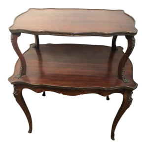 Antique French Brown Mahogany and Brass Etagere Serving Table with