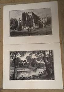 Bolton Abbey and Rivaulx Abbey Prints, etchings.