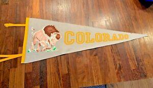 Vintage Colorado University Buffaloes Mascot Pennant w/ ties Collegiate of Ames