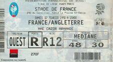 """BILLET MATCH DE RUGBY """"STADE DE FRANCE / FRANCE / ANGLETERRE / 7 FEVRIER 1998"""""""