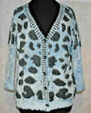 Jumpo Botones Cardigan Fluffy Jumper cuello en V Top Uk S/M Libre Post (ZL)
