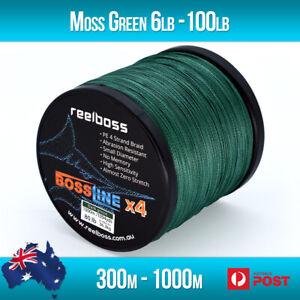 ReelBoss Moss Green PE Braid Fishing Line 6lb - 100lb, 300m 500m 1000m