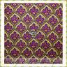 BonEful Fabric FQ Cotton Quilt Green Pink Damask Flower Yellow Dot VTG Victorian