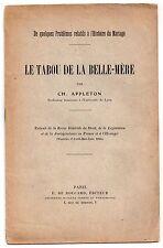 Ch. APPLETON LE TABOU DE LA BELLE-MERE 1924 SIGNE MARIAGE DROIT ETHNOLOGIE