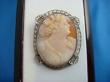 VINTAGE SHELL CAMEO BROOCH IN 14K WHITE GOLD FILIGREE FRAME 5.6 GRAMS 35 X 28 MM