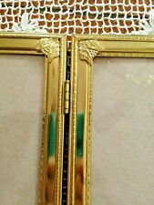 Vintage Bat Wing Finial Design Double Hinged Brass Picture Frame 5 X 7