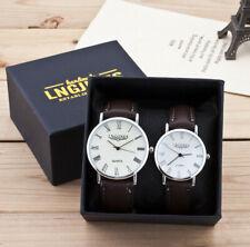 2pcs Fashion Couple High Gloss Glass Leather Belt Watch Set Contains Box Gifts