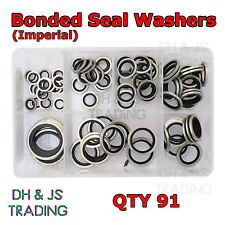 "Assorted Box of Bonded Seal Washers Dowty Washers BSP  (1/8 - 1"" BSP) Qty 90"