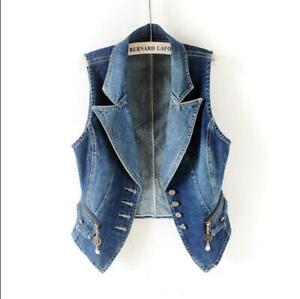 New Women's Denim Vest Cowboy Waistcoat Sleeveless Casual Coat Jeans Jacket Gift