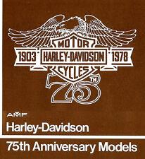 1978 HARLEY-DAVIDSON 75TH ANV SPORTSTER & ELECTRA GLIDE MOTORCYCLE BROCHURE