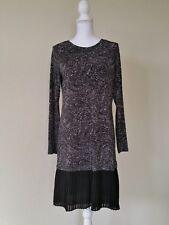 MICHAEL KORS Women's M Sheath Dress Tunic L/S Stretch Knee Length ruffle Bk Wht