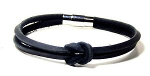 Infinity Bracelet Two Strand Black Leather Stainless Clasp Hand Made USA 8 Inch